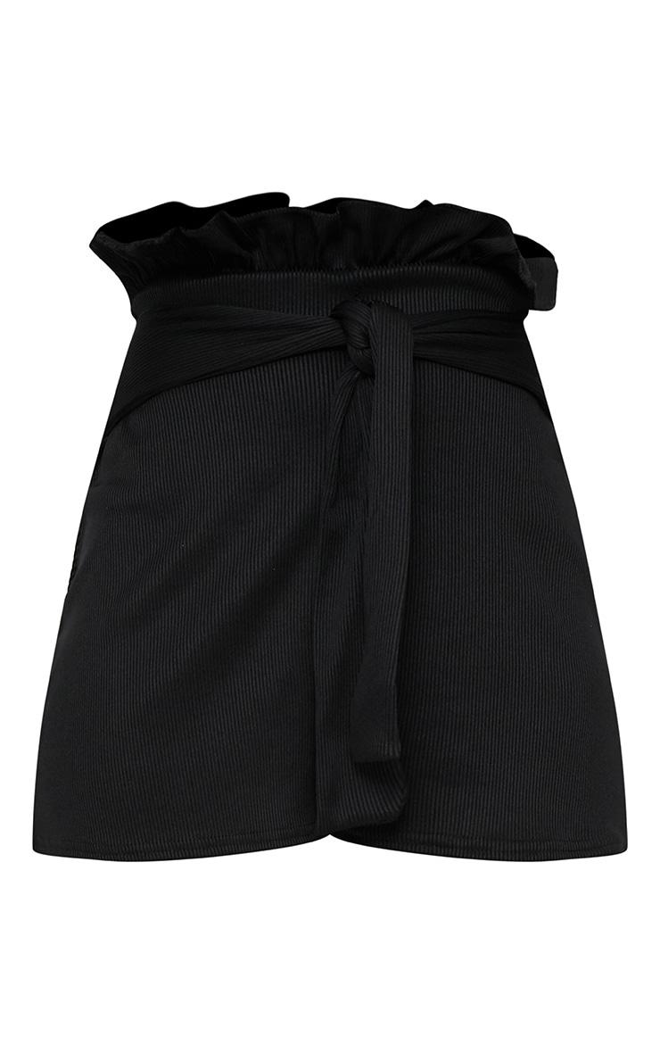 Black Ribbed Paperbag Shorts 3