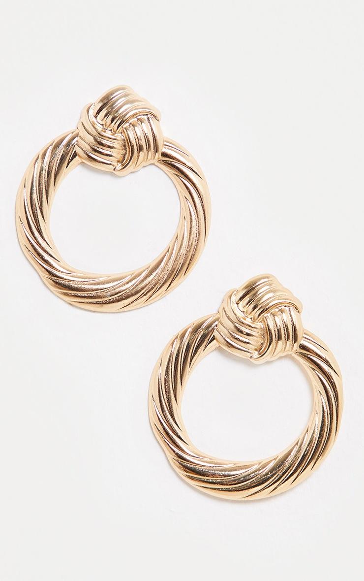 Gold Door Knocker Chunky Knot Hoop Earrings 2
