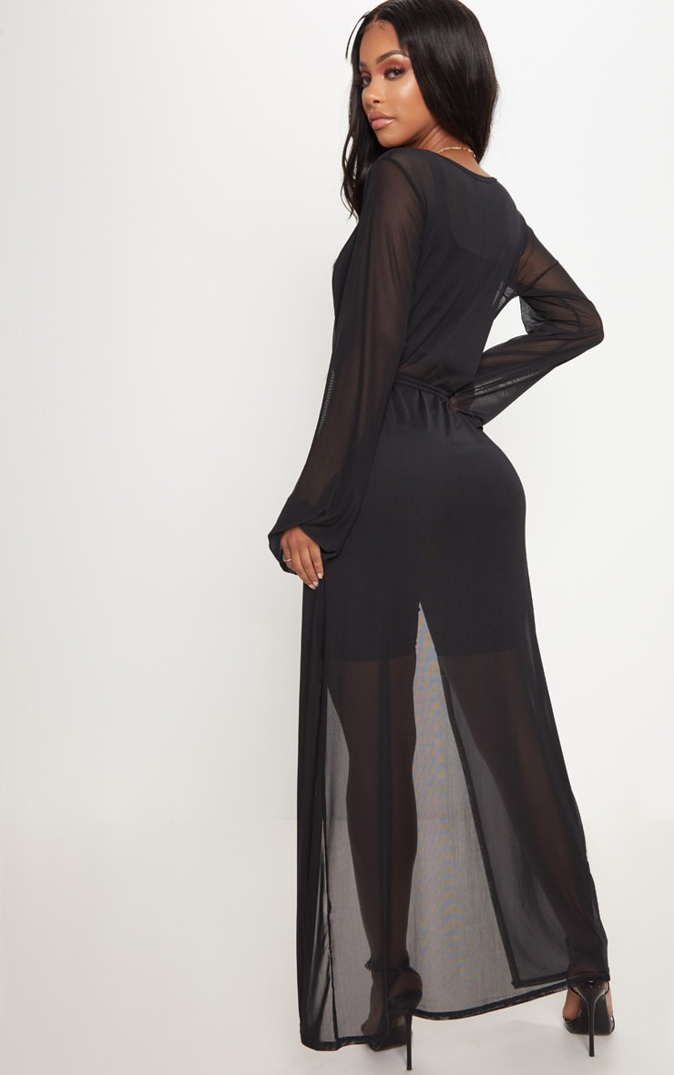 Shape Black Sheer Mesh Maxi Duster Jacket 2