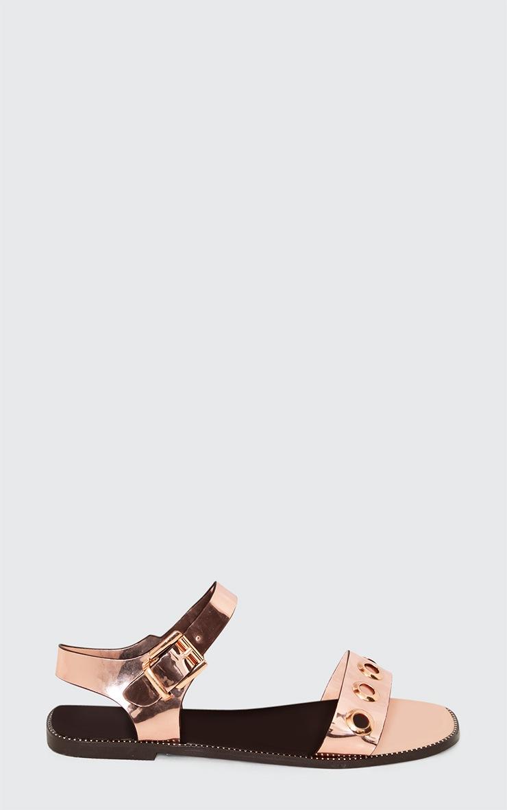 Marlene Rose Gold Metallic Eyelet Sandals  2