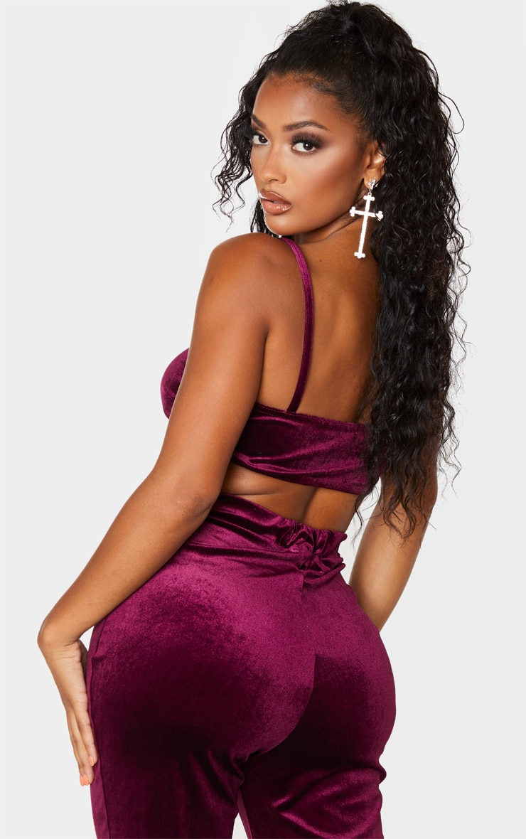 Shape Burgundy Velvet Ruched Front Crop Top 2