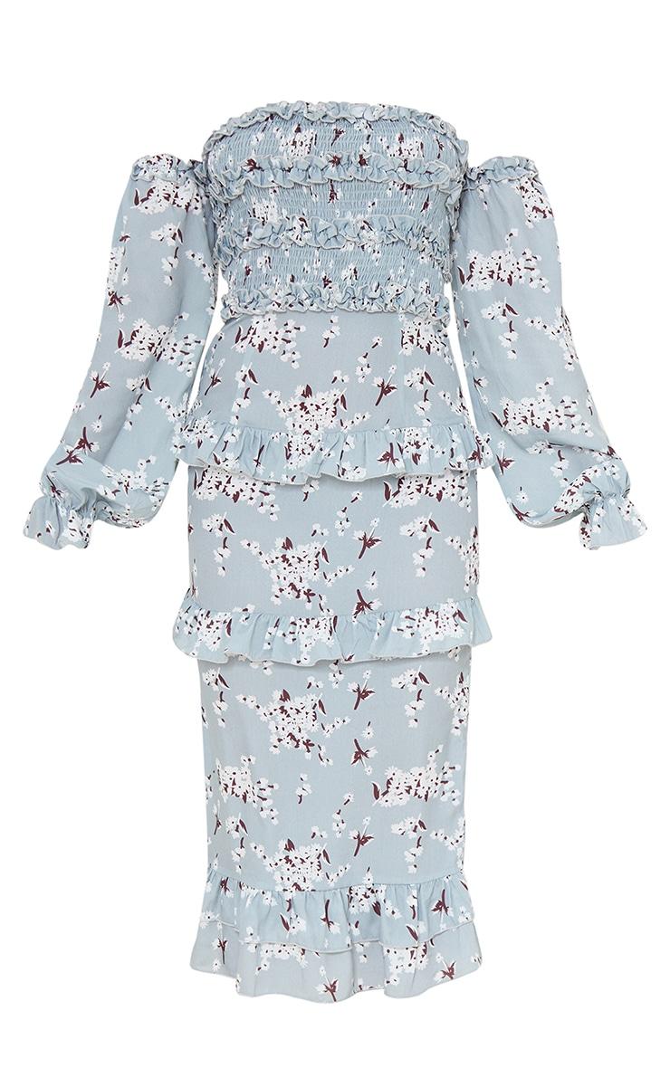Blue Floral Print Shirred Ruffle Bardot Midi Dress 5