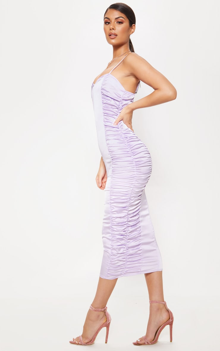 Lilac Satin Ruched Midaxi Dress 4