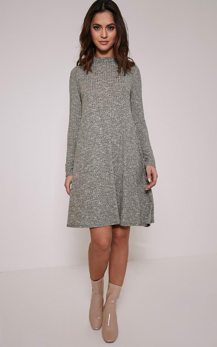 Renae Khaki High Neck Swing Dress 5