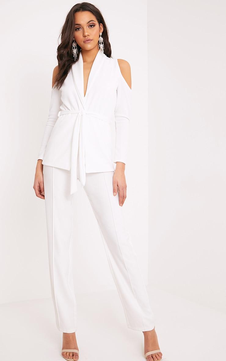 Orabelle White Cold Shoulder Belted Blazer 4
