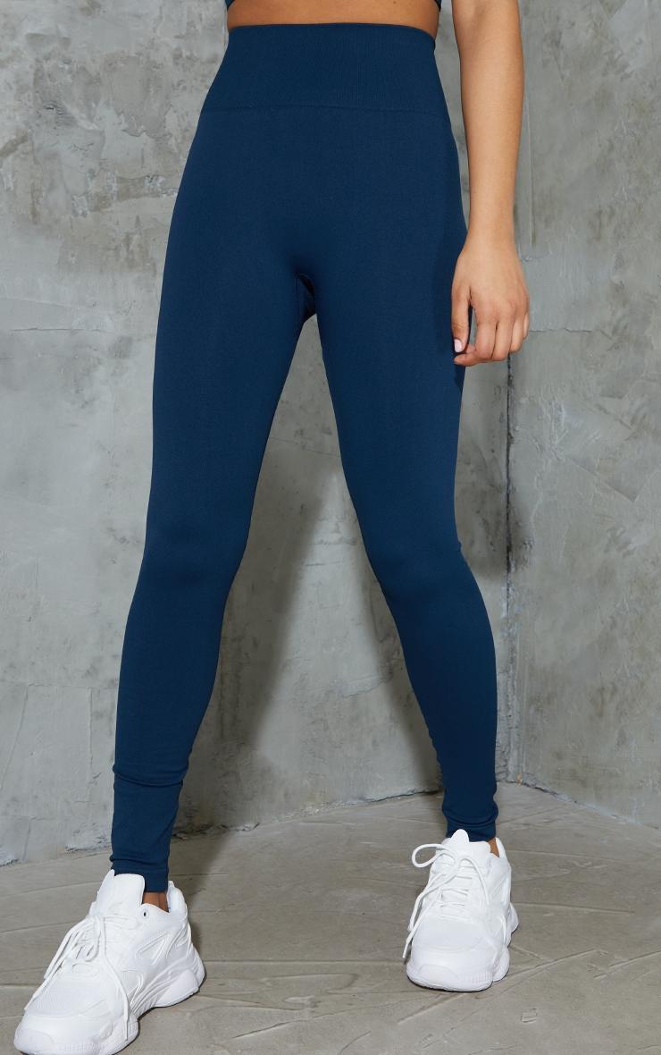 Navy Basic Seamless High Waist Gym Leggings 2