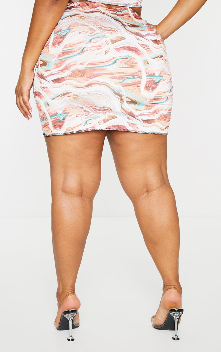 Plus Multi Marble Print Lace Up Contrast Stitch Skirt 3