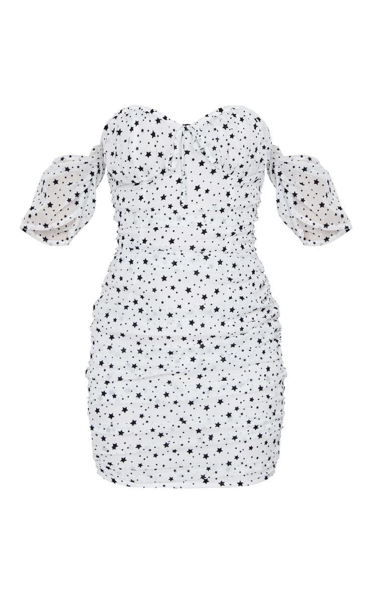 White Star Print Mesh Glitter Ruched Bardot Bodycon Dress 5
