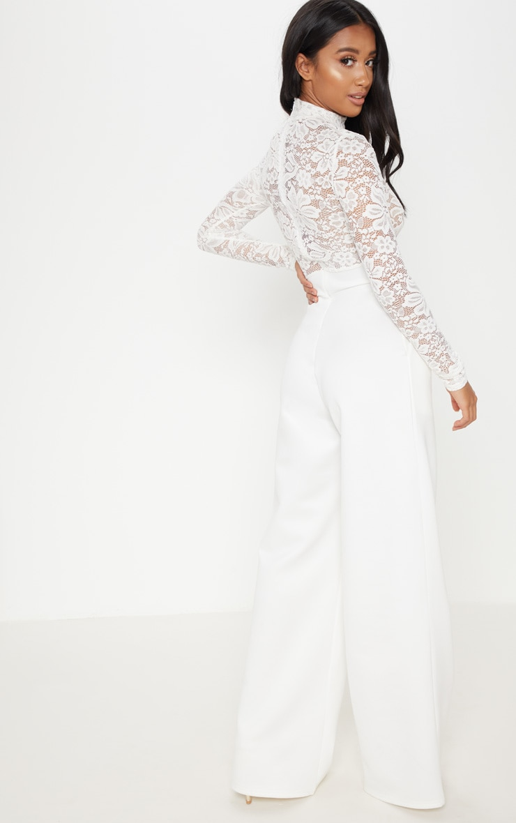 Petite White Lace High Neck Long Sleeve Jumpsuit 2