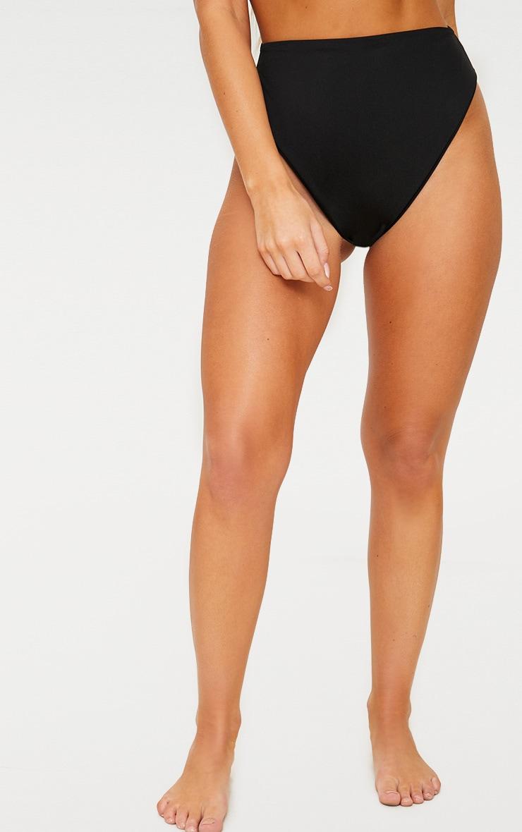 Black Mix & Match High Waisted High Leg Bikini Bottom 2