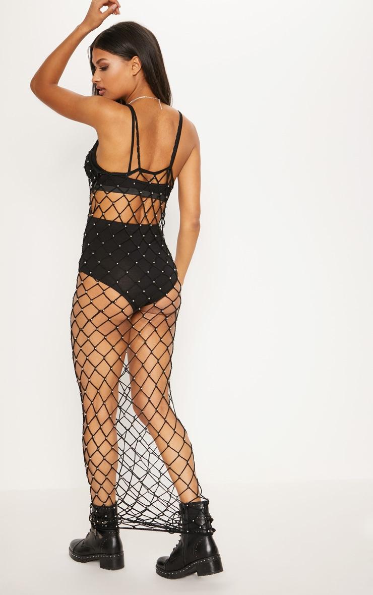 Black Crochet Beaded Maxi Dress 2