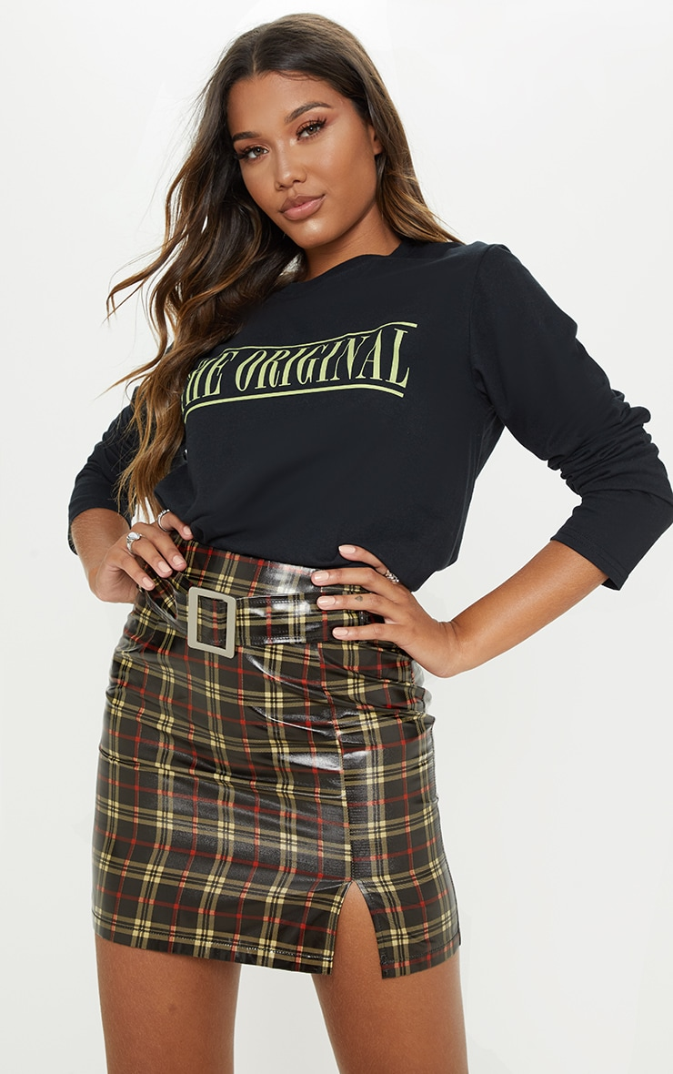 Black Check Belted Waist Patent Mini Skirt 1