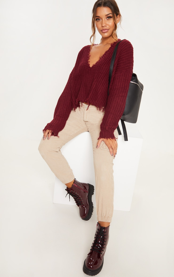 Burgundy Fringe Hem Knitted Sweater  4