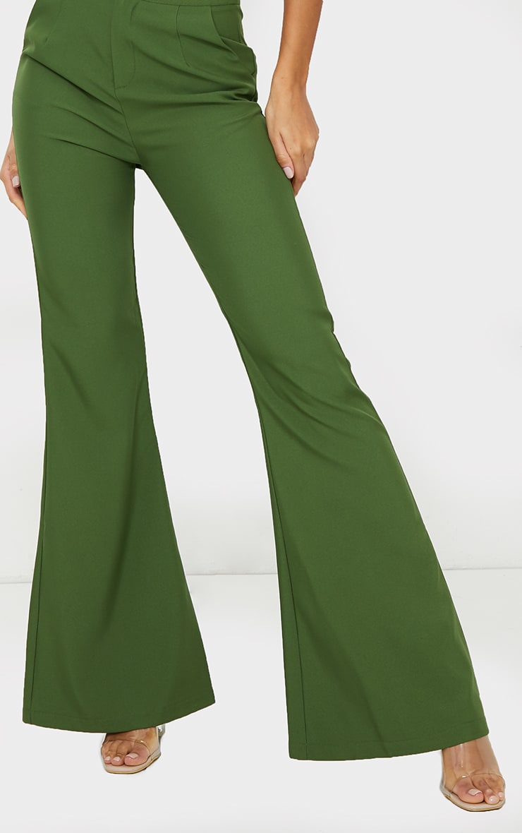 Olive High Waisted Double Button Waist Flared Pants 4