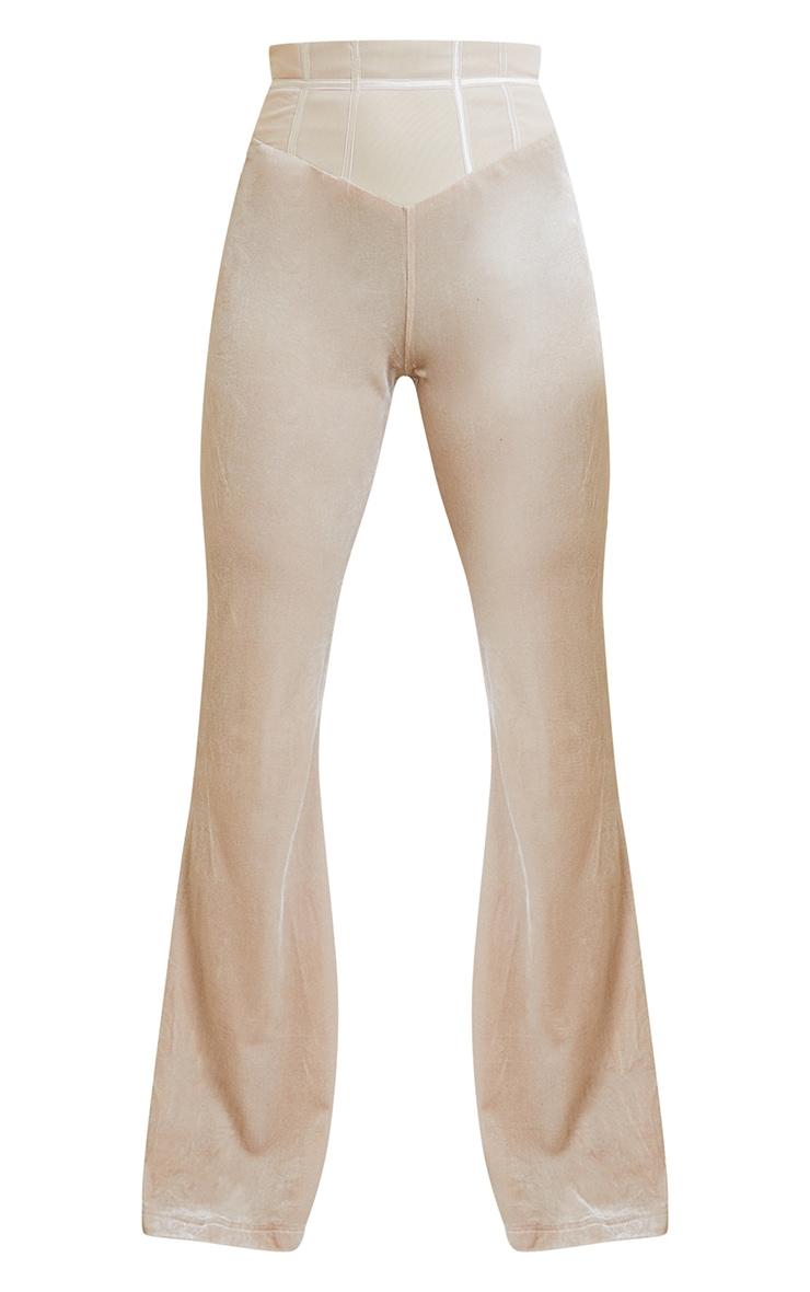 Petite Champagne Velvet Mesh Wide Leg Pants 5