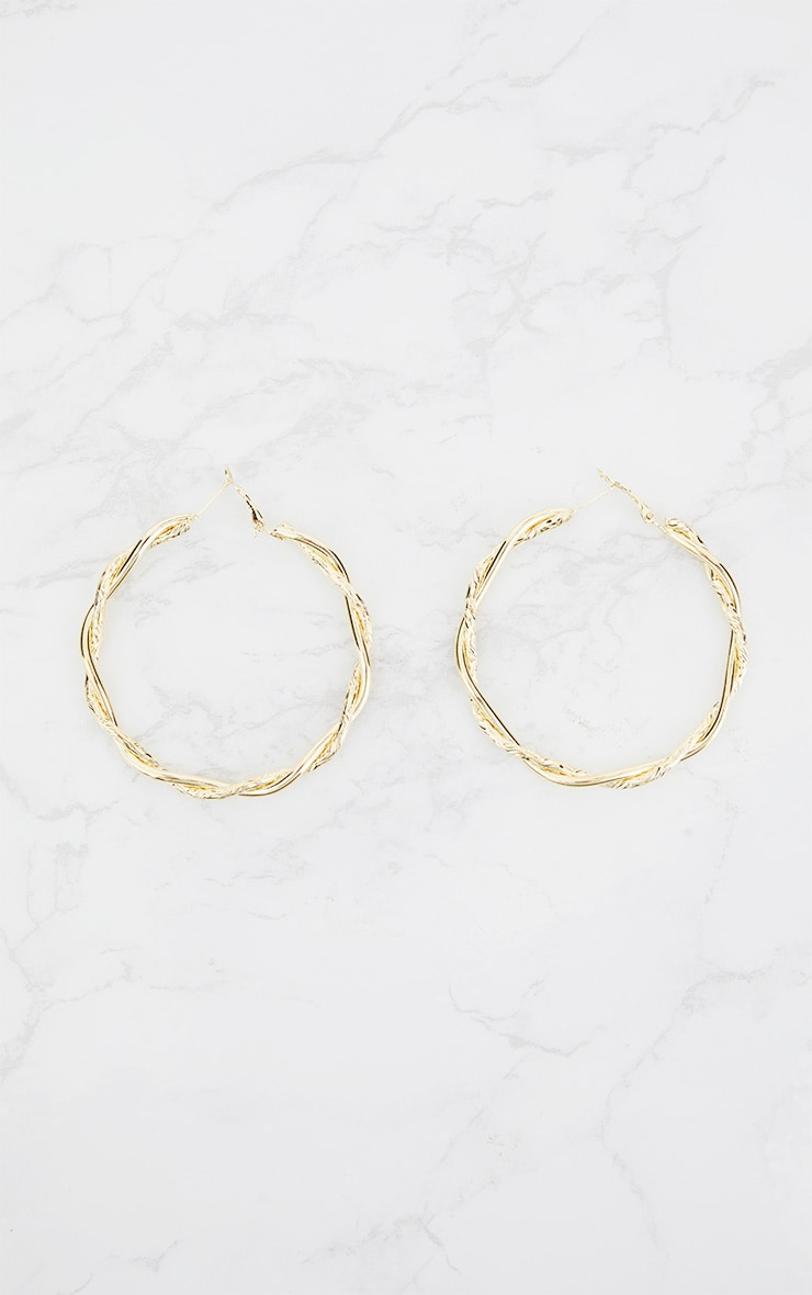 Gold Twisted Hoop Earrings 4