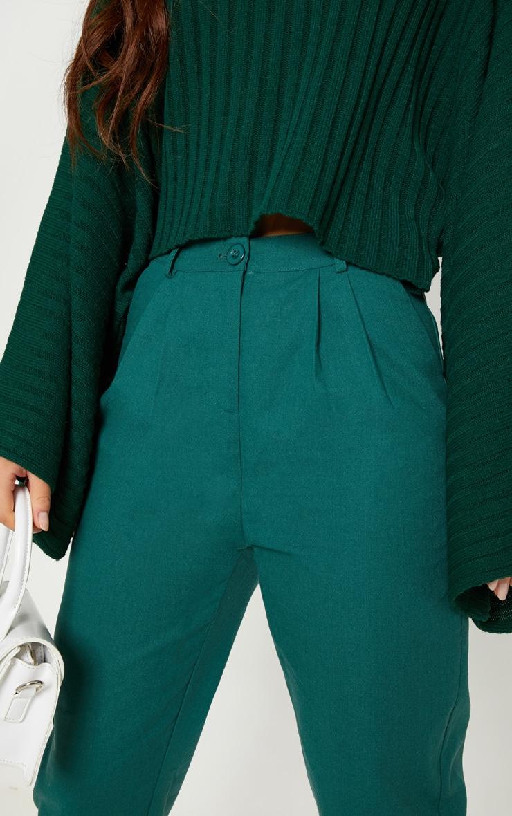Pantalon cigarette vert émeraude plissé 5
