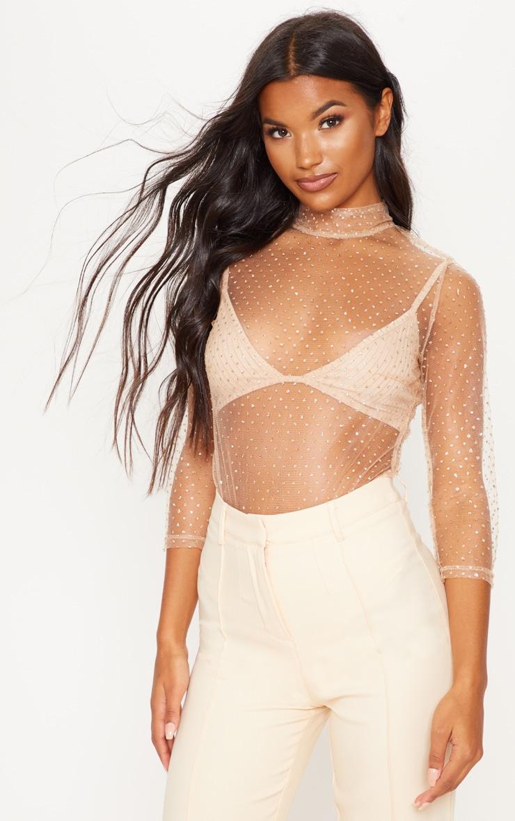 Gold Glitter Mesh Long Sleeve Bodysuit 1
