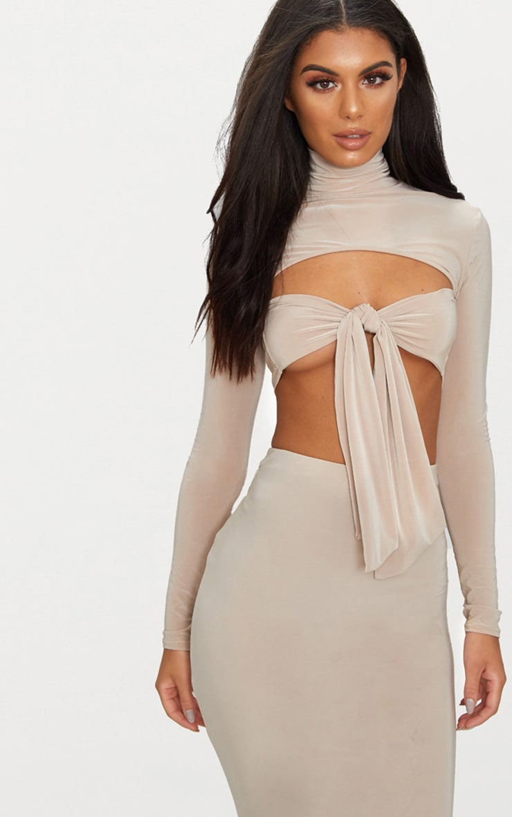 Taupe Slinky Roll Neck Tie Front Crop Top  1