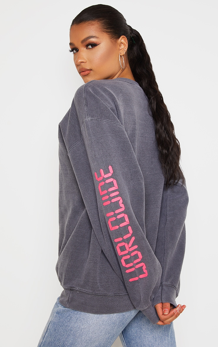 Grey Worldwide Slogan Oversized Sweatshirt 2