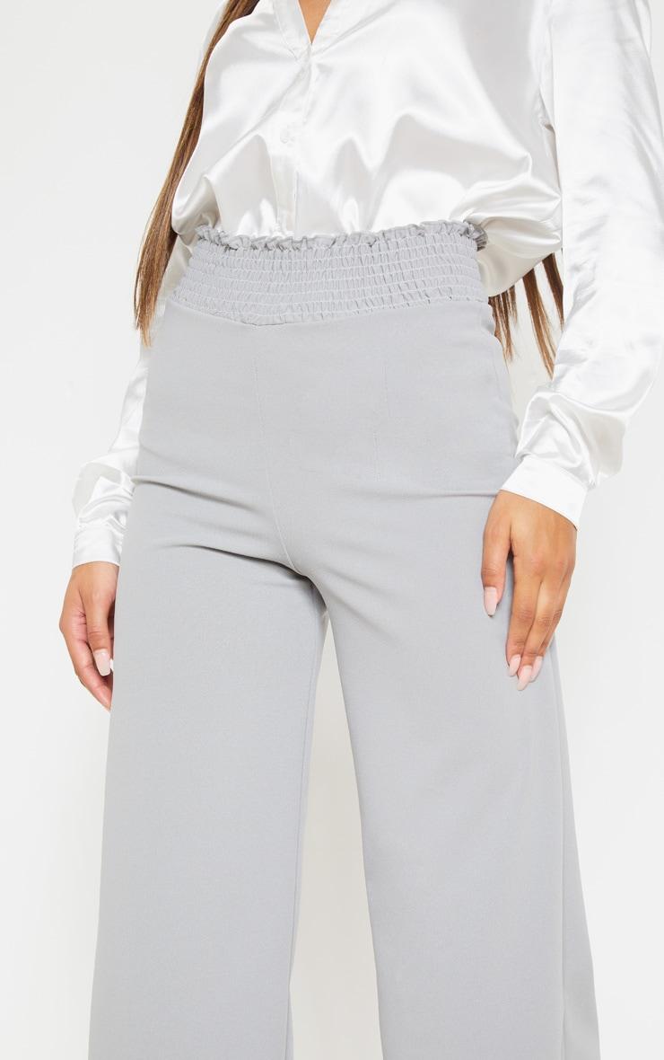 Grey Crepe Shirred Waist Wide Leg Culotte 5