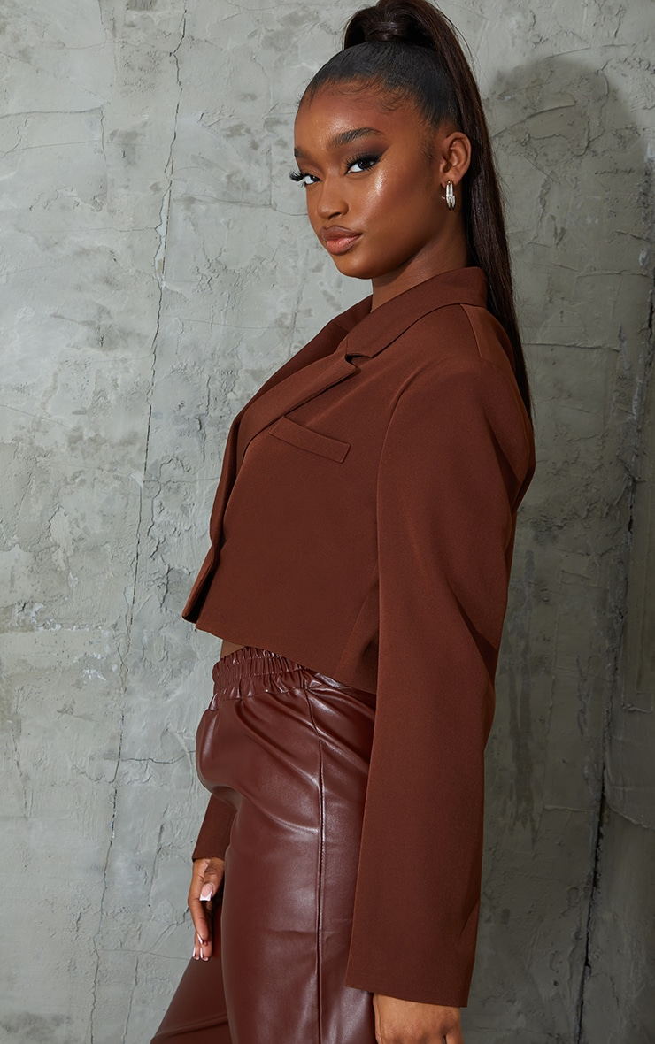 Chocolate Woven Cropped Shoulder Padded Blazer 3