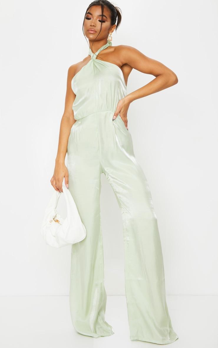 Sage Green Knot Halterneck Shimmer Jumpsuit 3