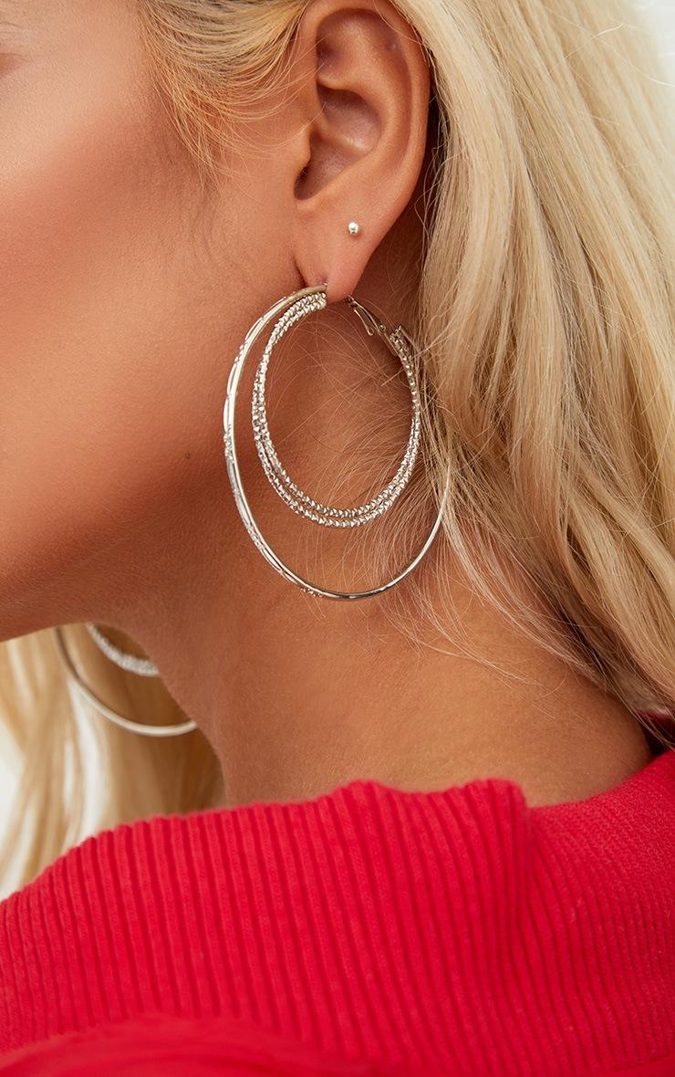 Grandes boucles d'oreilles créoles doubles argentées 4