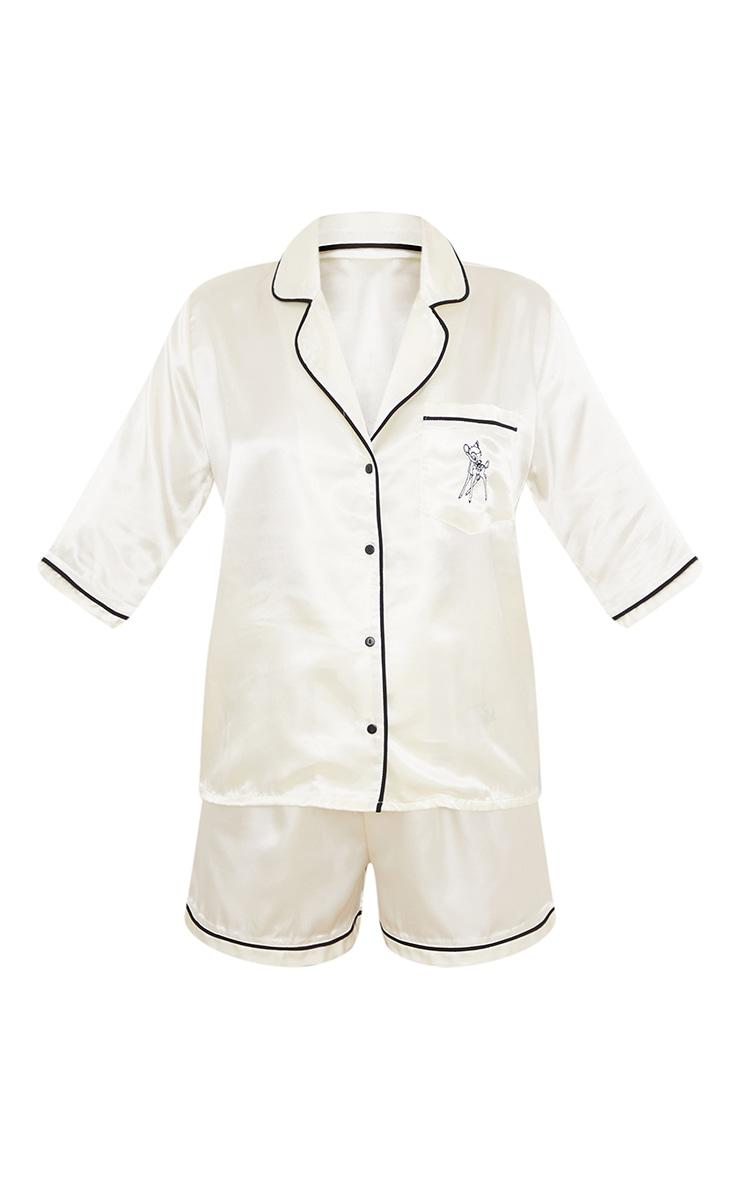 Ivory Disney Bambi Embroidered Button Up Satin Shorts PJ Set 5