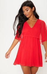 Red Cape Pleated Detail Skater Dress 1