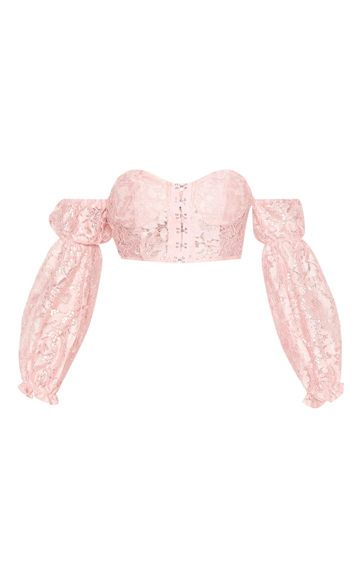 Rose Lace Bardot Hook And Eye Crop Top 3