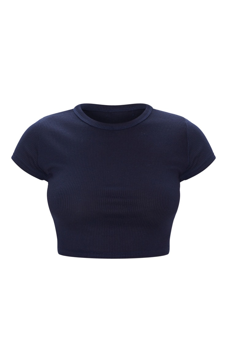 Midnight Blue Rib Crop T Shirt 3