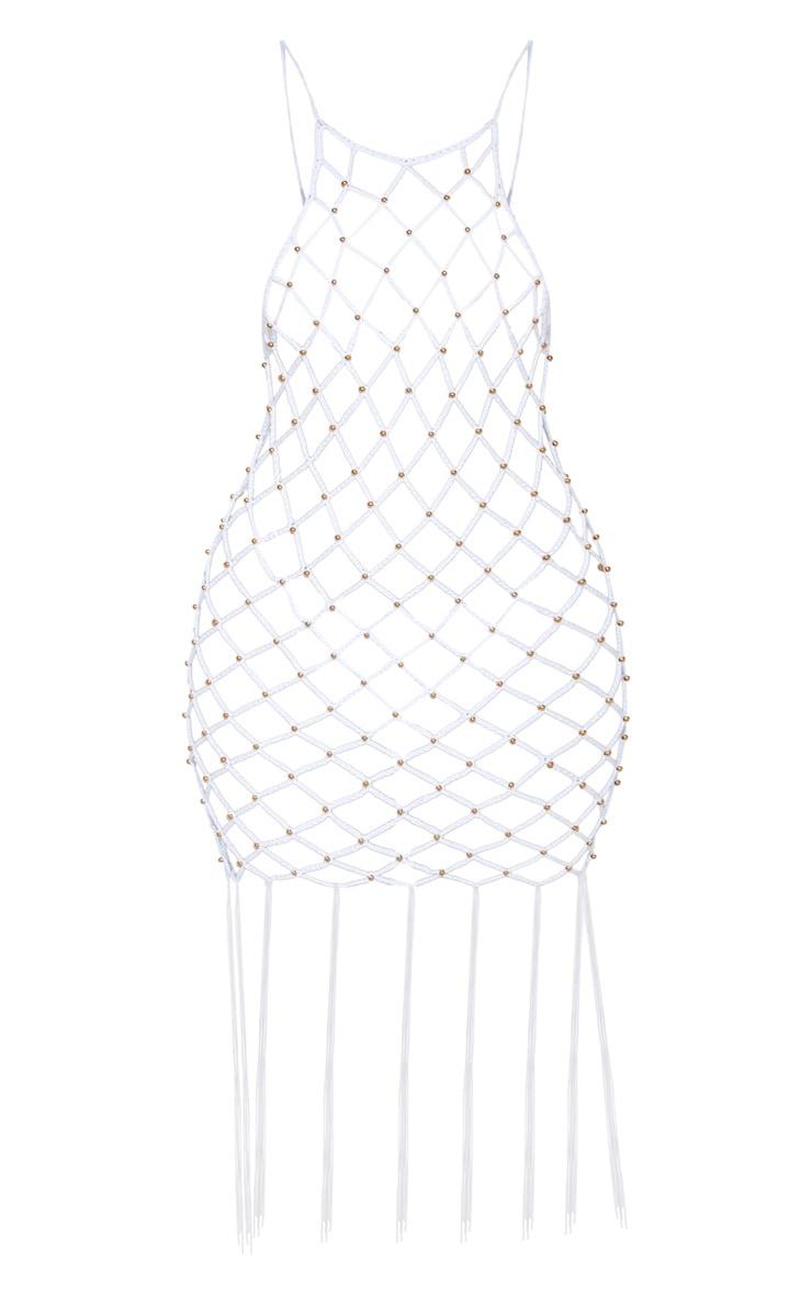 White Beaded Knitted Fringe Hem Dress  3