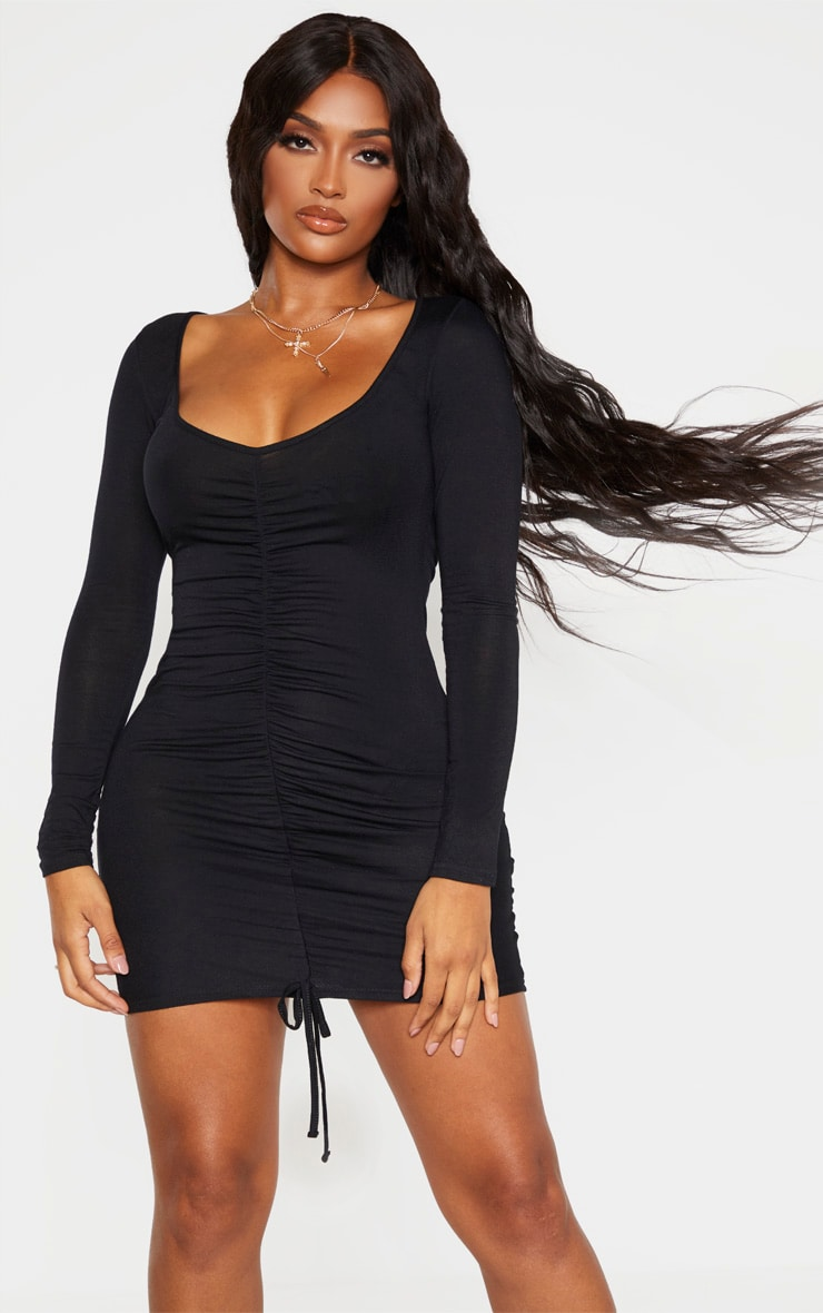 Shape Black Jersey Ruched Front Long Sleeve Dress 1