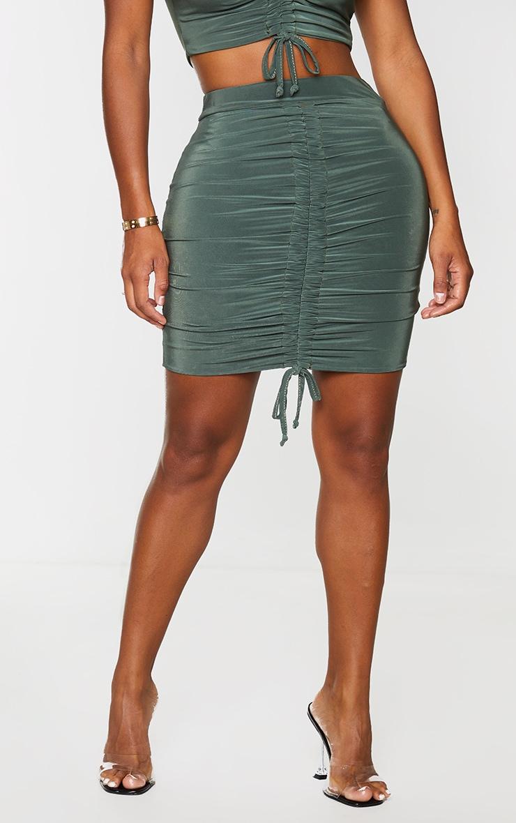Shape Khaki Slinky Ruched Front Bodycon Skirt 2