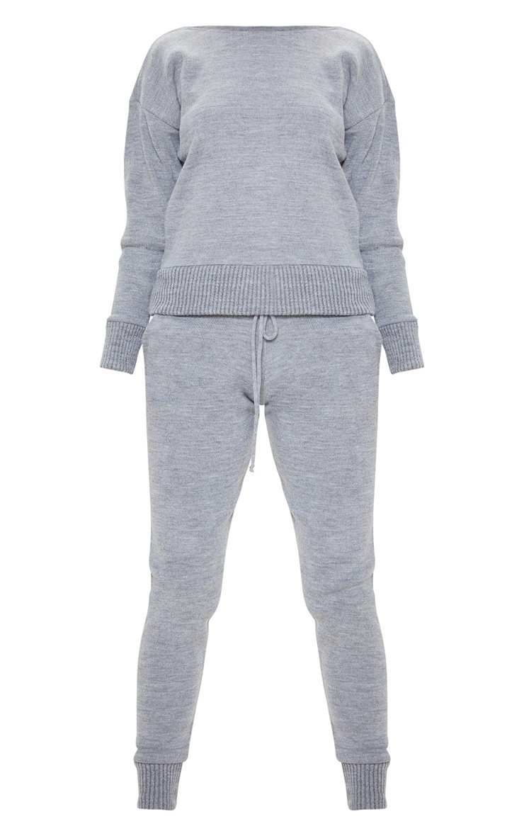 Dark Grey Jogger Knitted Lounge Set 3