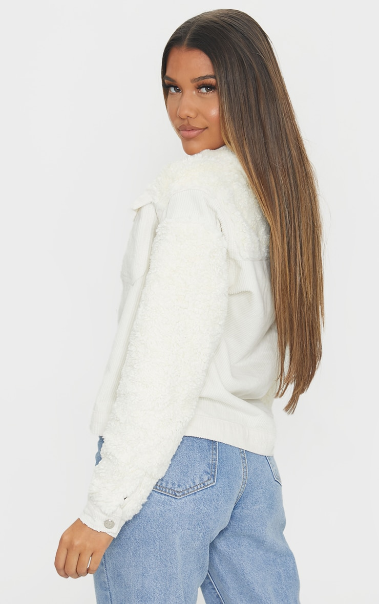 Cream Fur And Cord Denim Jacket 2