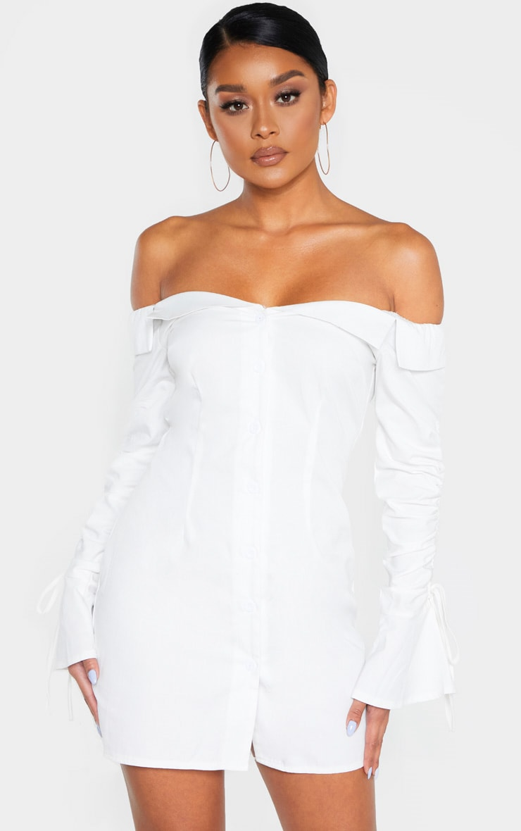 White Bardot Ruched Sleeve Shirt Dress 1