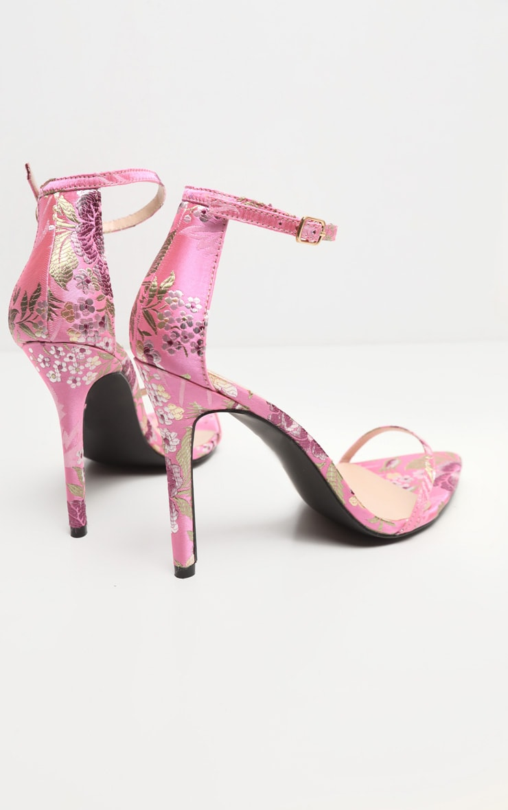 Pink Floral Oriental Strappy Sandal 6