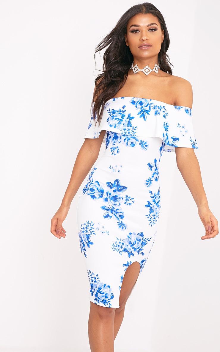 Yazmine White Frill Bardot  Midi Dress 1