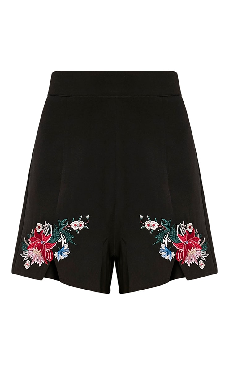 Charis Black Floral Embroidered Shorts 4