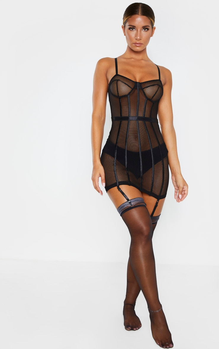 Black Fishnet Mesh Lingerie Slip Dress 4