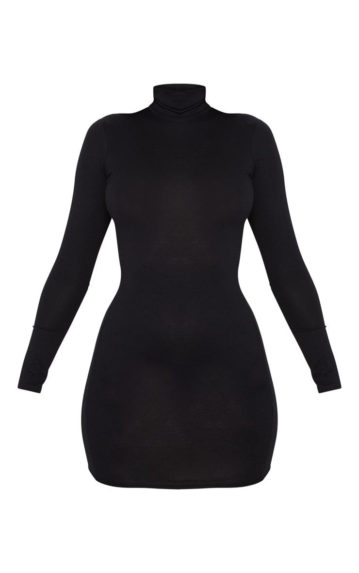 Black Jersey High Neck Bodycon Dress 3