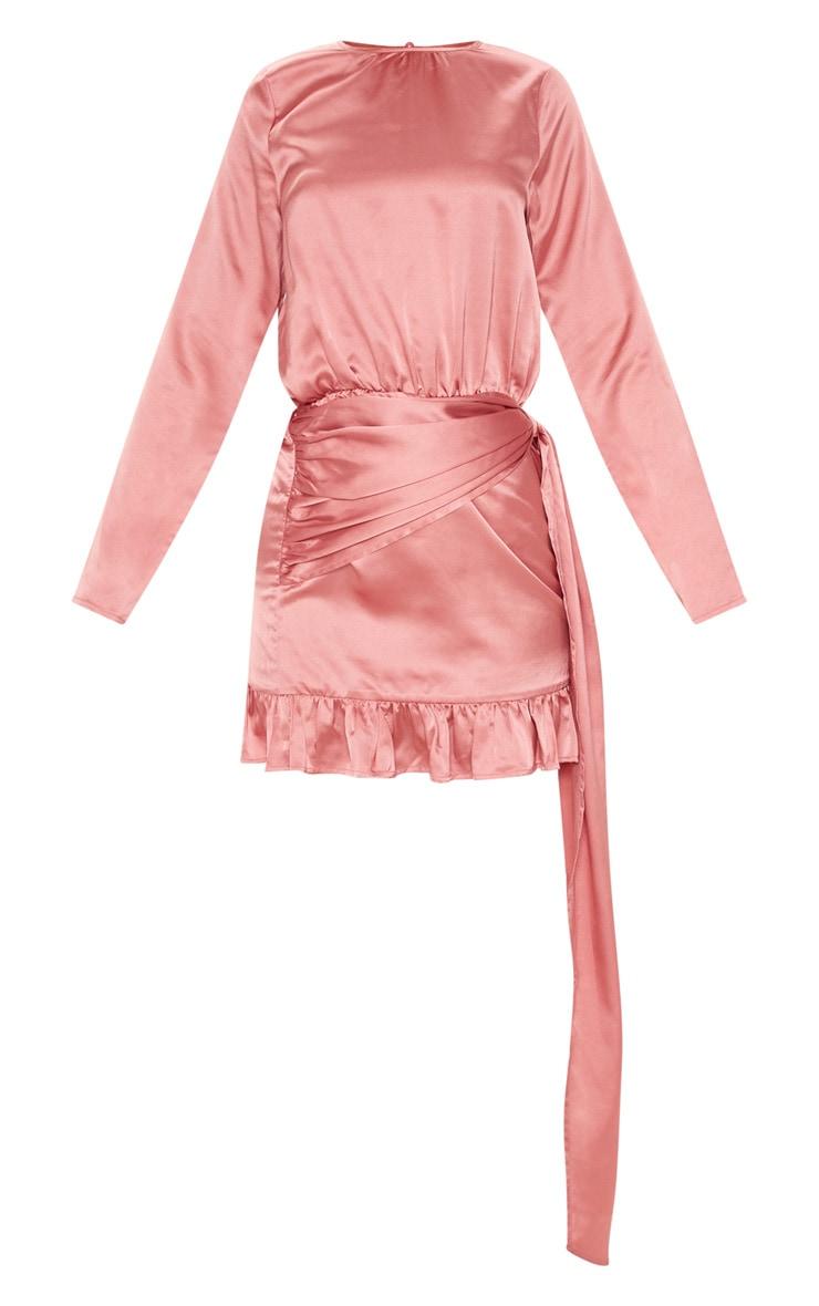 Rose Satin Drape Frill Hem Bodycon Dress 3