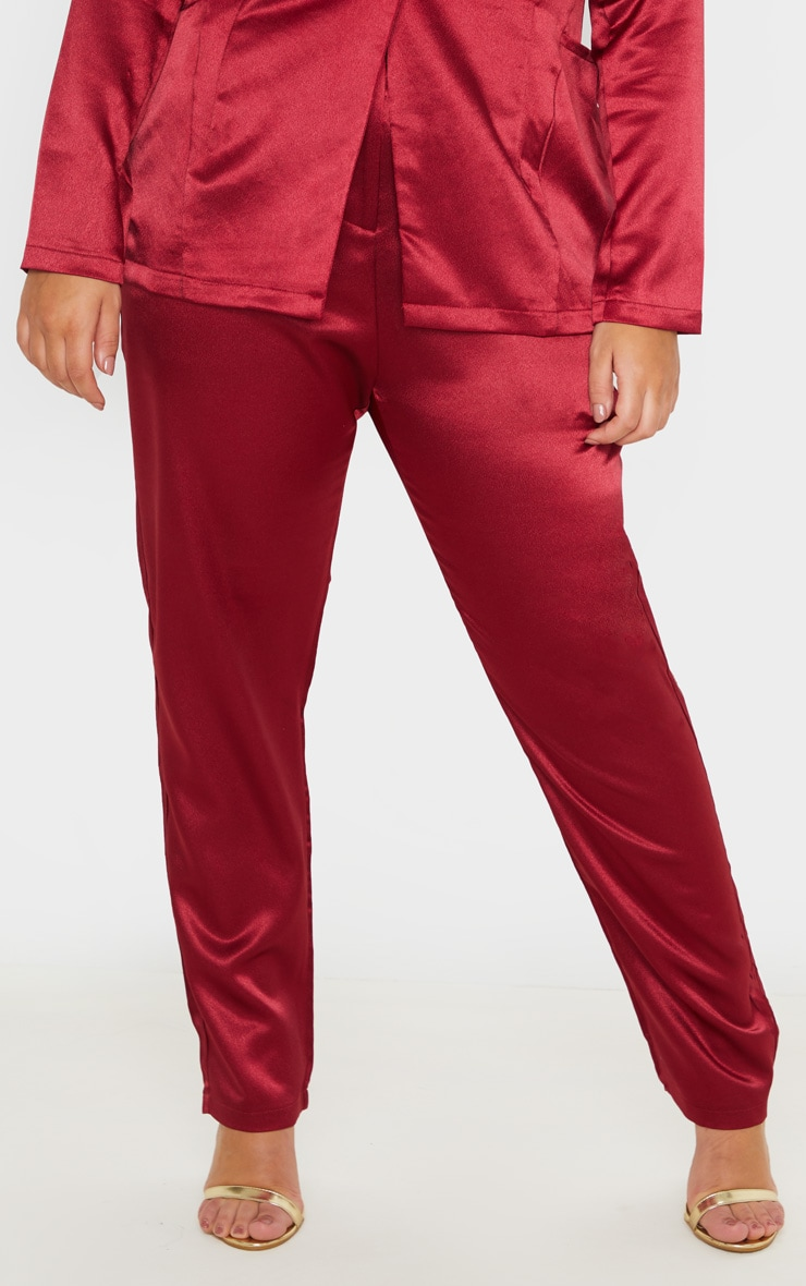 Plus Burgundy Satin Pocket Detail Straight Leg Pants 2