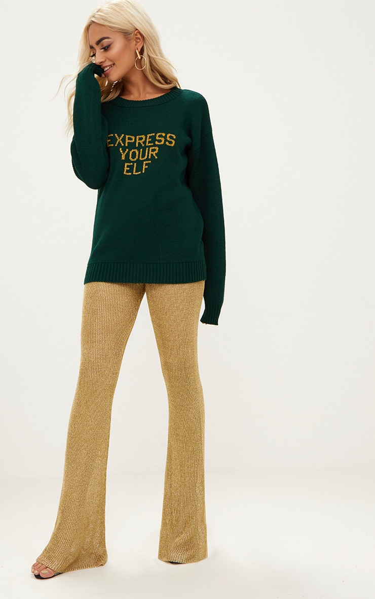 Forest Green Express Your Elf Christmas Sweater 4