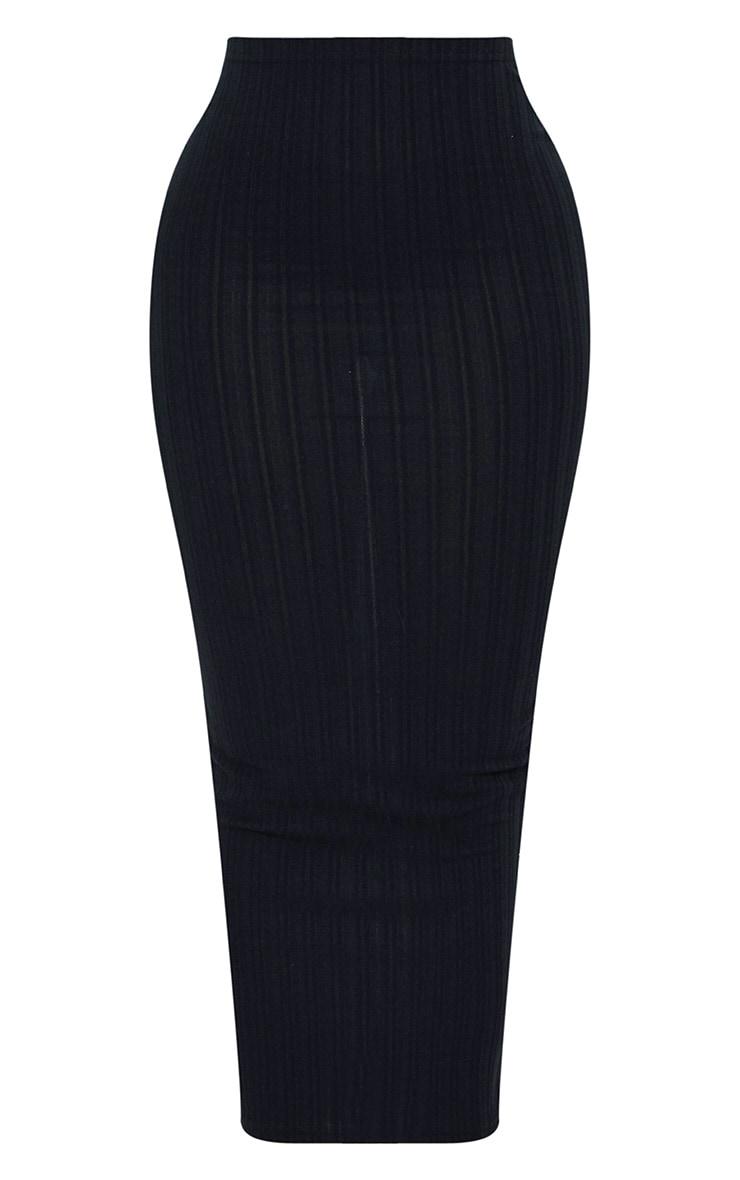 Shape Black Ribbed Longline Midi Skirt 3