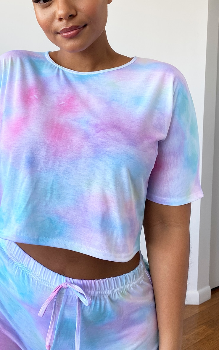 Plus Multi Tie Dye Print Shorts PJ Set 4