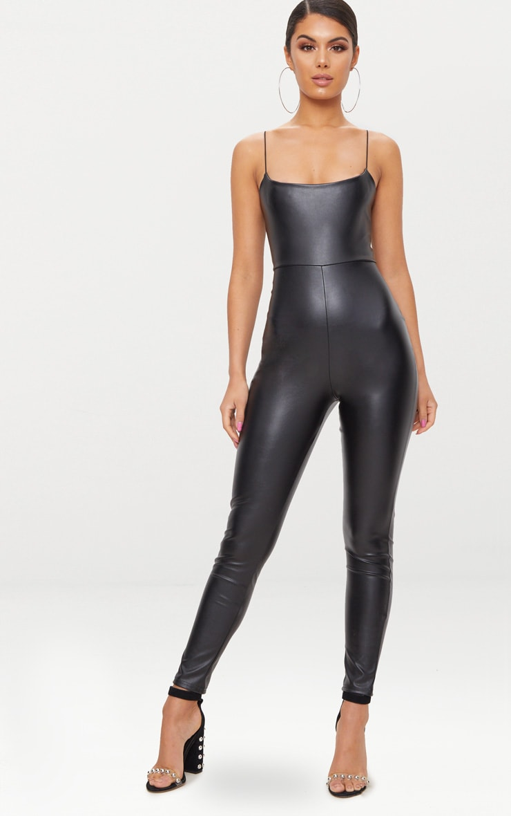 Black Strappy PU Jumpsuit 1