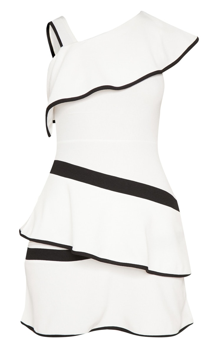 Monochrome Binding Detail One Shoulder Tiered Skater Dress 3